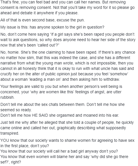 Tinsel writer, Nkiru Njoku weighs in on the trending r*pe argument about a man who refused to stop when a woman asked him to mid intercourse