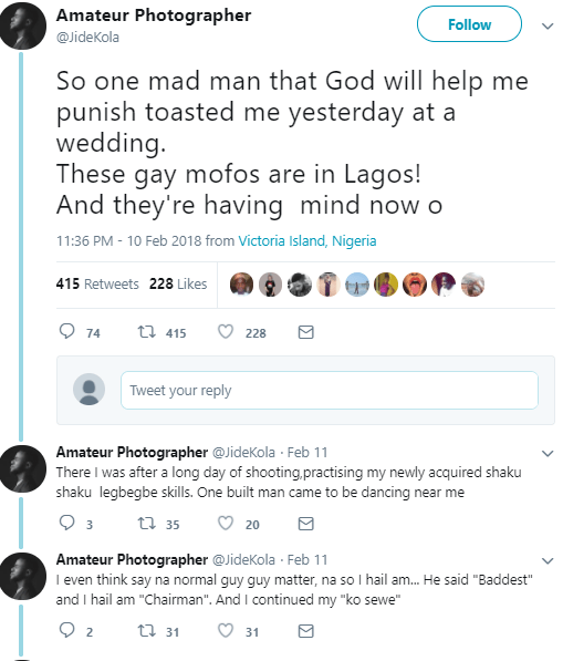 Popular Nigerian photographer recounts how a gay man tried to woo him at an event over the weekend