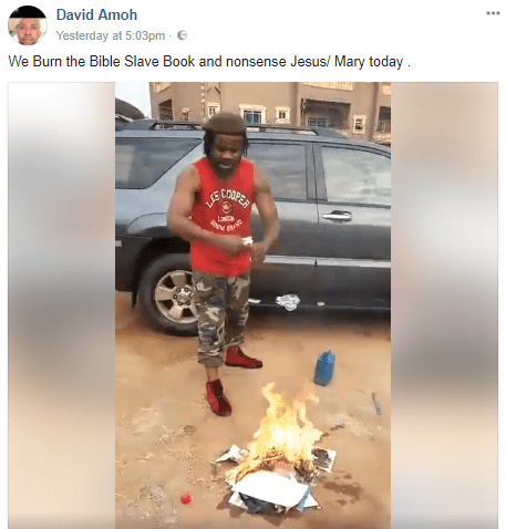 Nigerian men describe the bible as a slave book, share video of themselves burning copies along with a photo of Jesus