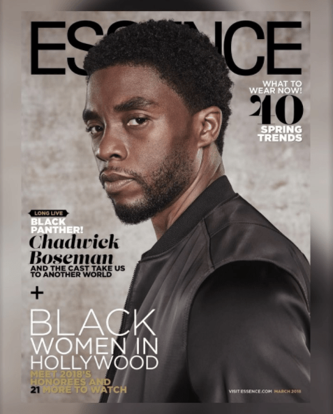 """5a83f92201dd7 - """"Black Panther"""" cast cover Essence Magazine's March 2018 issue (photos)"""