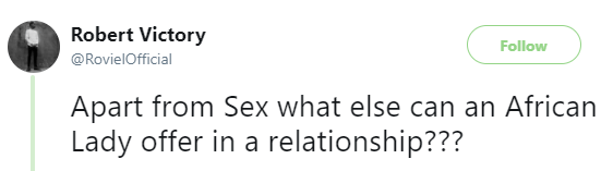 5a842dd1d8e58 - 'Apart from sex what else can an African Lady offer in a relationship?' - Twitter user asks