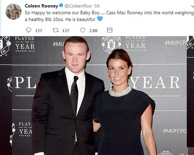 5a855dce38e41 - Coleen and Wayne Rooney welcome the birth of their fourth son Cass MacRooney