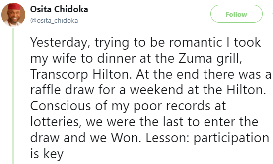 5a856eacdf06c - ''Your history is not your destiny'' Former minister of Aviation, Osita Chidoka shares profound lesson he learnt when he took his wife for valentine dinner last night