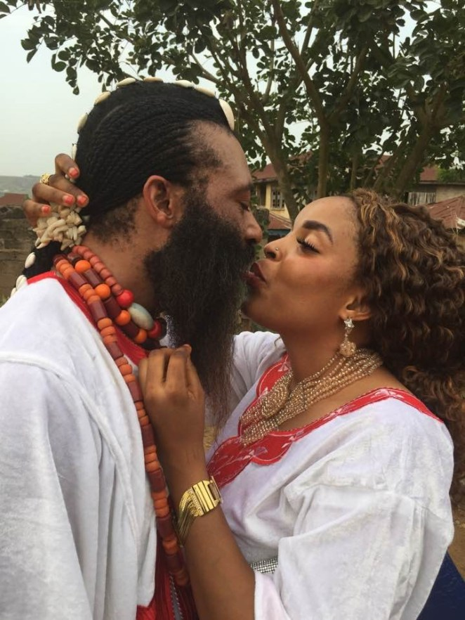 5a856ef65d338 - Trending photos of a Nigerian 'Spiritual father' with long beards kissing his wife as they celebrated Val's day