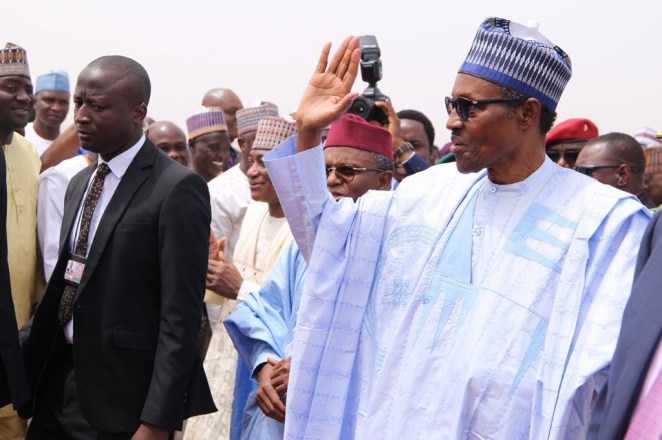 5a8592de3d845 - President Buhari arrives Kaduna to inaugurate a drone constructed by the Nigerian Air Force(photos)