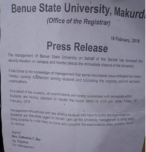 Benue State University Shut Down Indefinitely after students