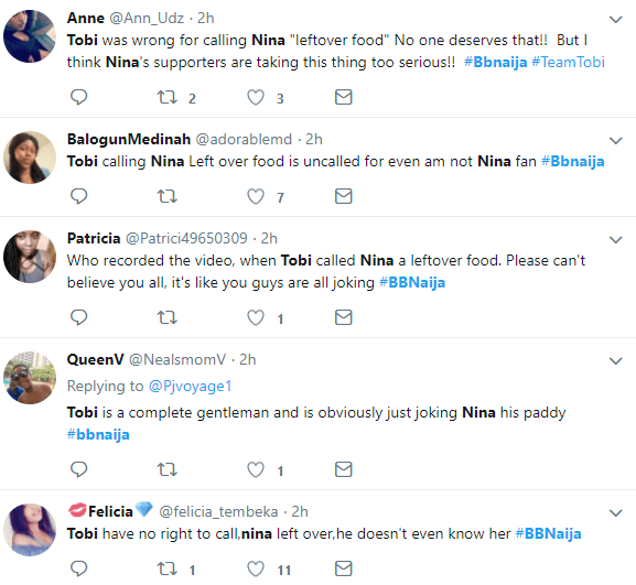 Twitter users react after Tobi called Nina