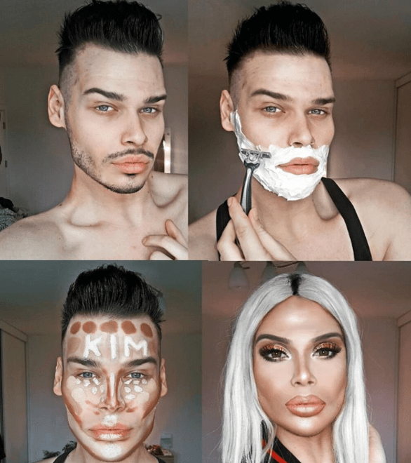 Makeup artist transforms himself into Kris Jenner and Kim K and it was so amazing that Kim noticed (photos)