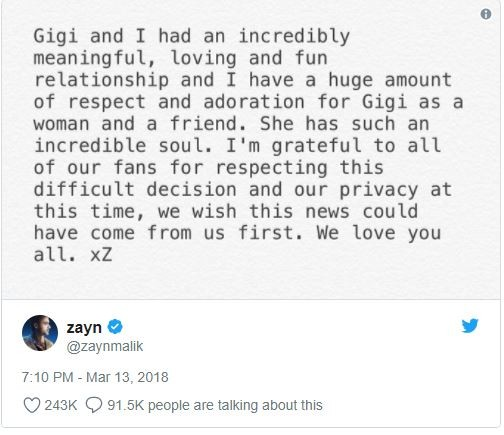 ?Zayn Malik and Gigi Hadid announce split in loving messages