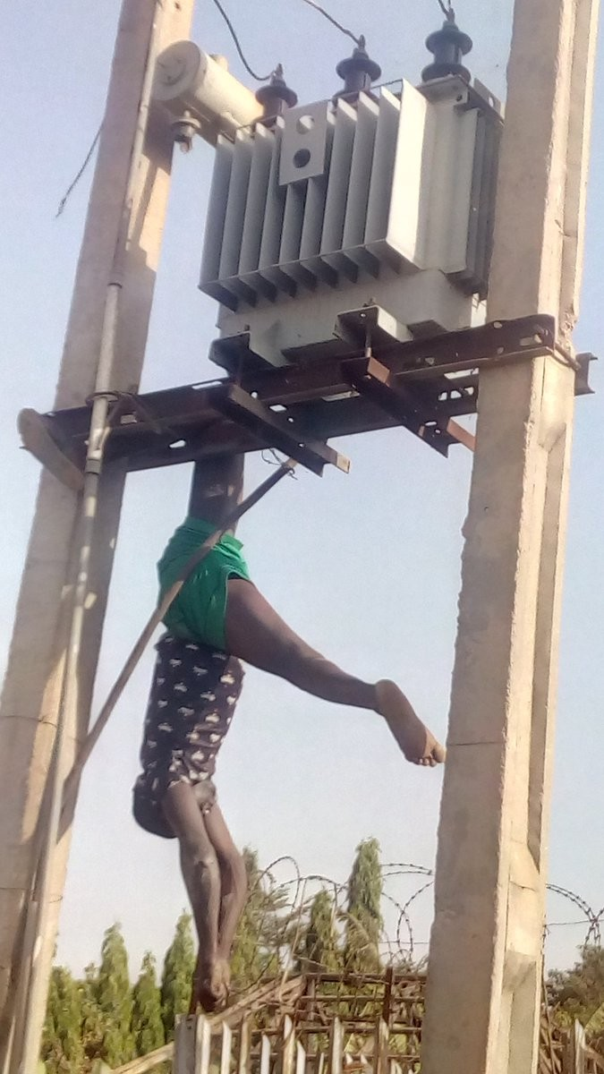 Man electrocuted while trying to steal transformer in Kaduna (graphic photos)
