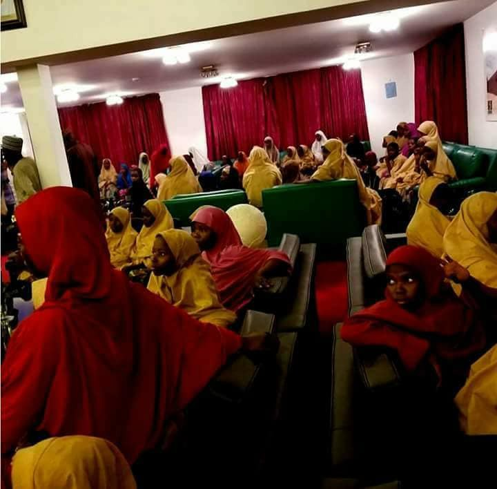 Photos: Released Dapchi school girls arrive Abuja, to meet President Buhari today