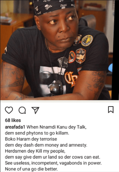 """""""None of una go die better"""" Charly Boy criticizes the government for fighting Nnamdi Kanu yet failing to do same to herdsmen and Boko Haram"""