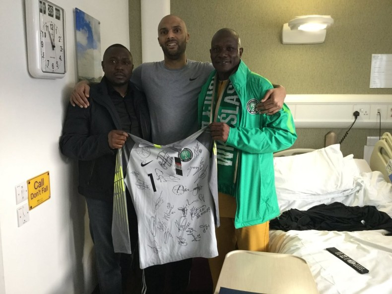 Photos: NFF pays a visit to Super Eagles goalkeeper Carl Ikeme as he undergoes treatment for Leukaemia