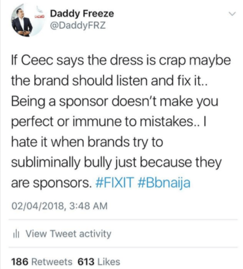 Freeze takes side with Cee-C following the BBNaija traditional attire saga
