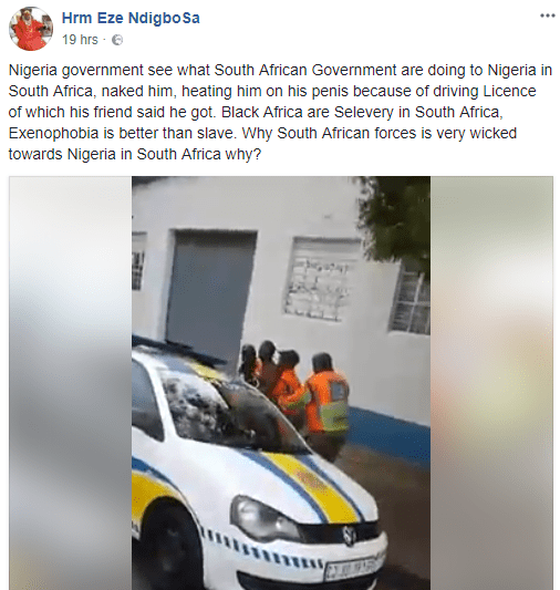 Heartbreaking video shows naked Nigerian man being brutalized and hit on the penis by South African police for not having a drivers license