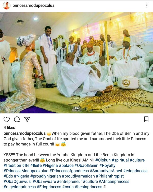 See how Oba of Benin and Ooni of Ife looked on as Modupe Ozolua paid homage to them