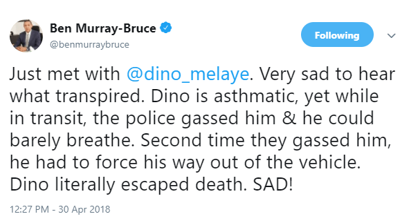 Dino is asthmatic, yet while in transit, the police gassed him, he had to force his way out of the vehicle and?literally escaped death - Ben Bruce