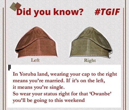 How you wear your fila (cap) in Yoruba land signals if you are single or married?