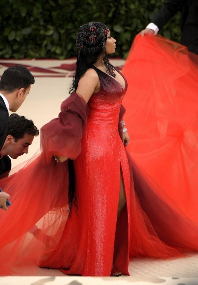 Nicki Minaj hits the MET Gala 2018 red carpet in custom Oscar de la Renta red sequin gown