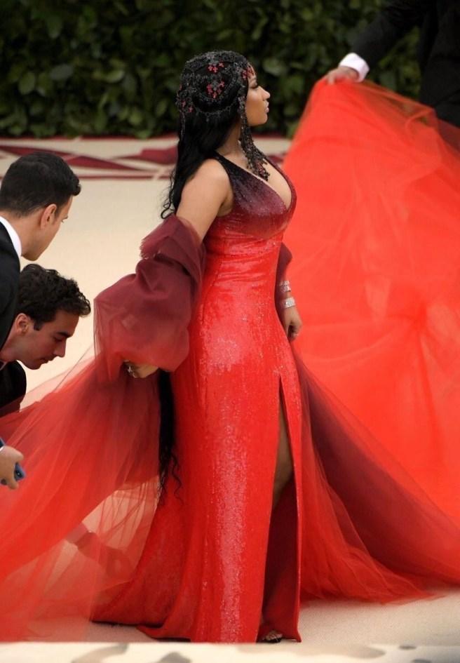 Nicki Minaj hits the MET Gala 2018 red carpet in custom Oscar de la Renta red sequin gown