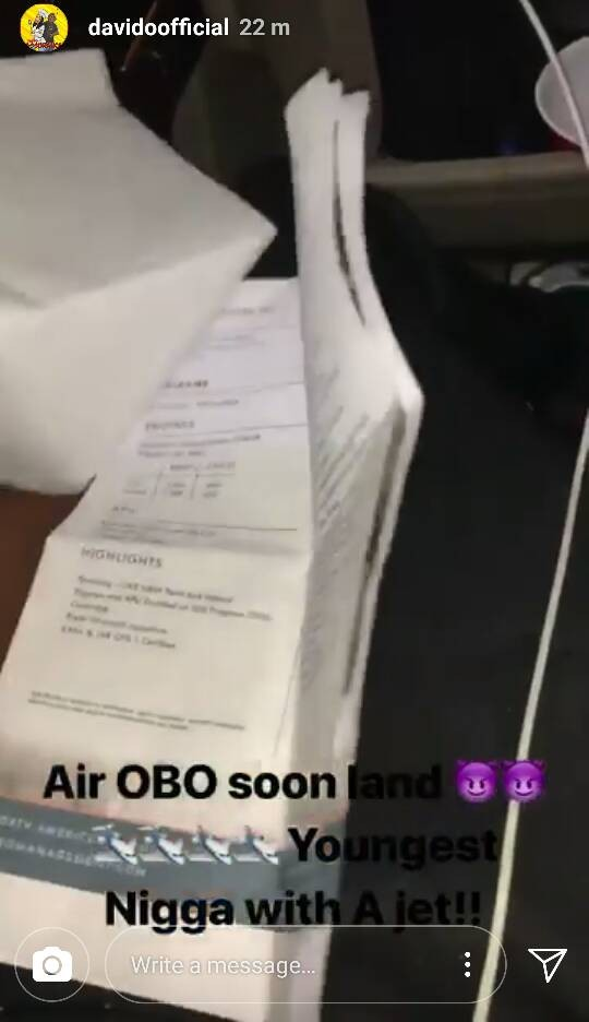 Singer Davido says he has bought himself a private jet! (photos)