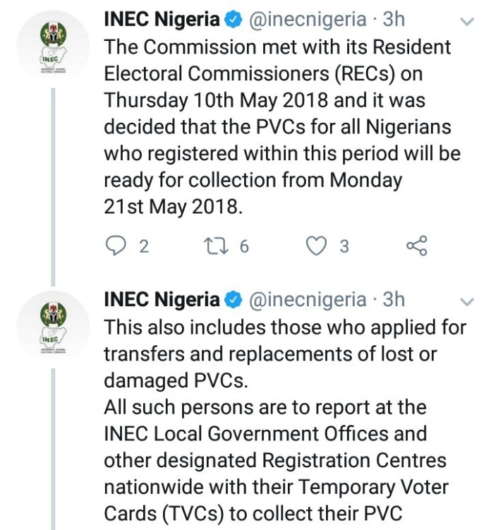 INEC says every Nigerian who applied for PVC will get one before the 2019 election