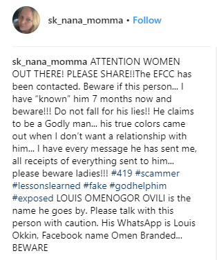 White lady calls out a Nigerian man who allegedly tried to scam her
