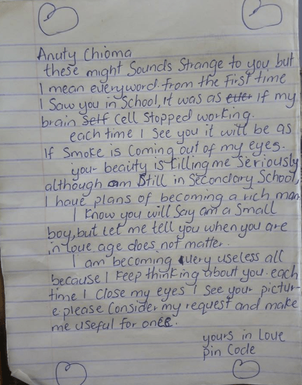 Lol! See the love letter a secondary student wrote to his teacher