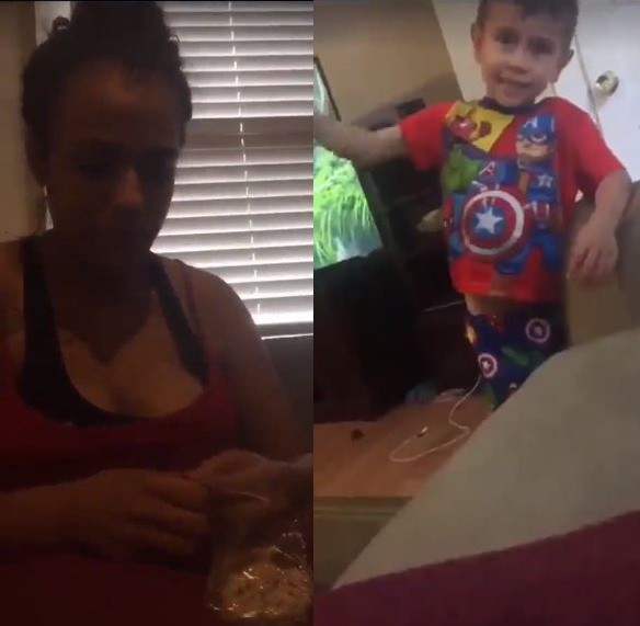 Disturbing video of a mother feeding her 3-year-old son with Marijuana edible on livestream