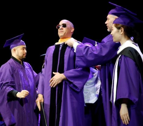 30 years after dropping out of school, Vin Diesel receives honorary doctorate degree from?Hunter College in New York