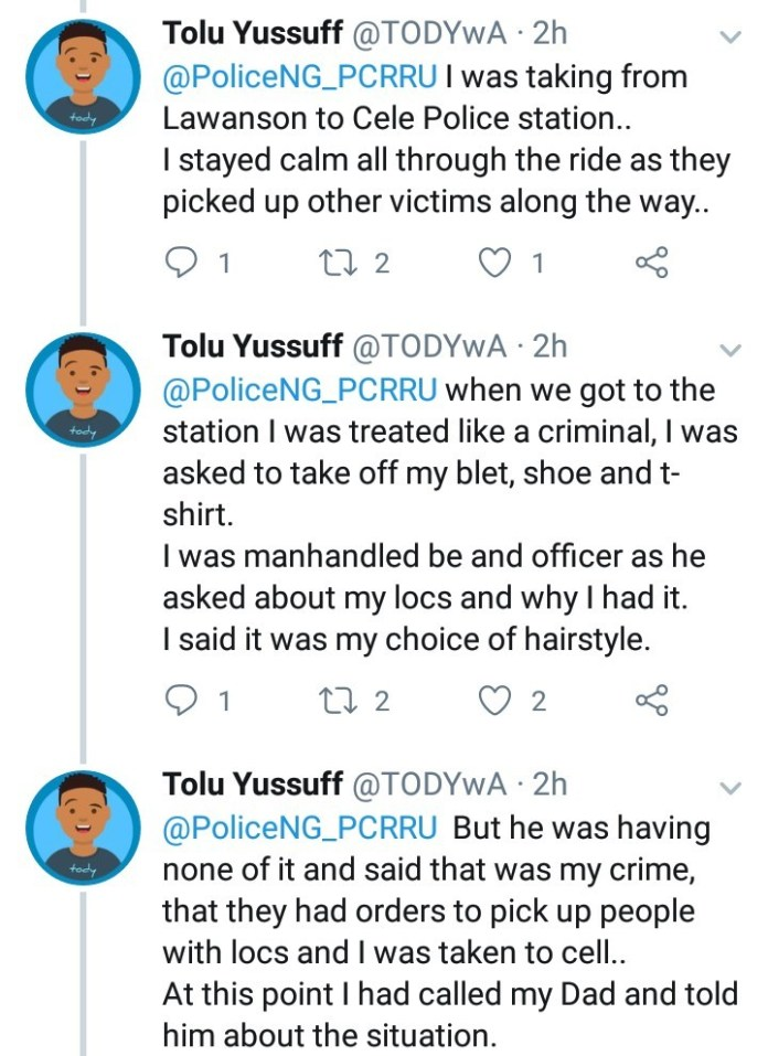 Twitter user narrates how he was allegedly arrested and extorted by police in Lagos for keeping dreadlocks