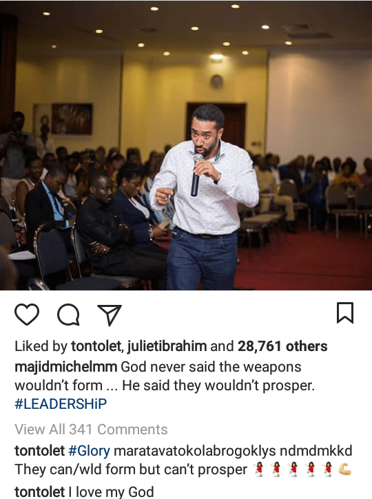 Tonto Dikeh writes in tongues as she comments on Majid Michael