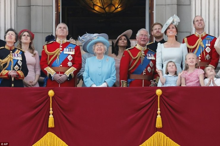 Meghan makes her first balcony appearance at Buckingham Palace as she joins the Queen to celebrate her official 92nd birthday (Photos)
