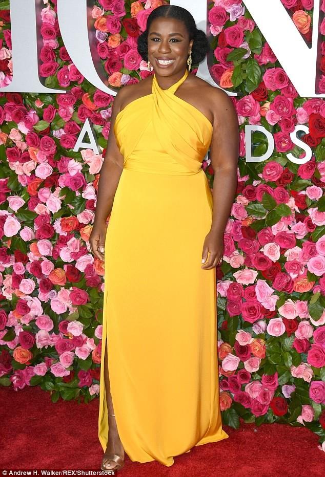 Nigeria-American actress Uzo Aduba rocks custom canary halter gown to Tony Awards in New York City