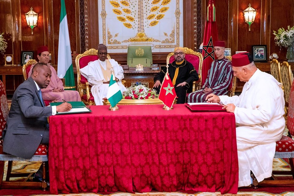 Photos: President Buhari and King Mohammed VI of Morocco sign?Joint declaration that will allow Nigerian gas pipeline connect?to West African countries