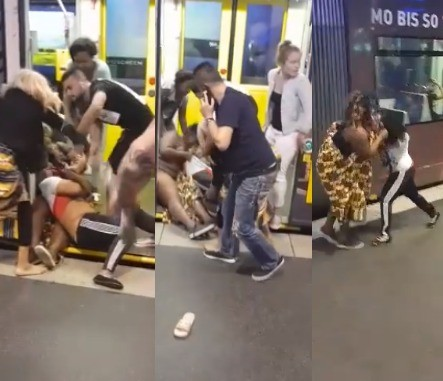 Two Nigerian women fight over a man at a train station in Germany