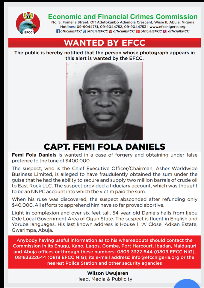 EFCC declares man wanted over $400k fraud