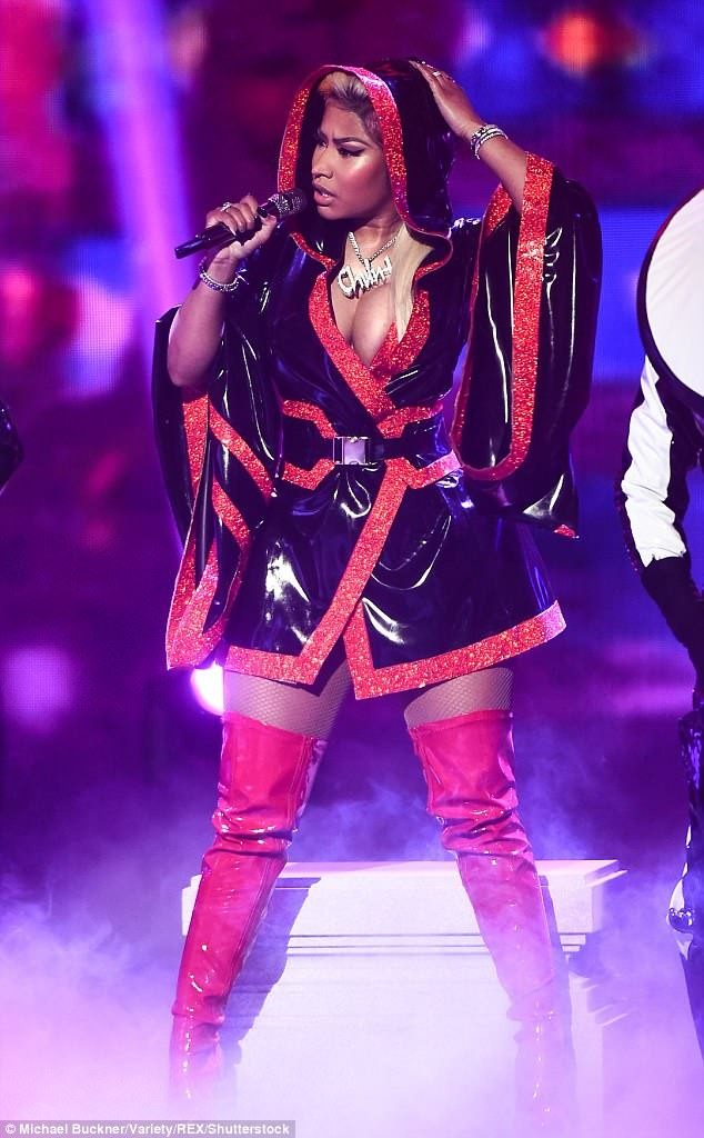 Nicki Minaj puts up sexy display in very racy red dress during BET Awards performance (Photos)