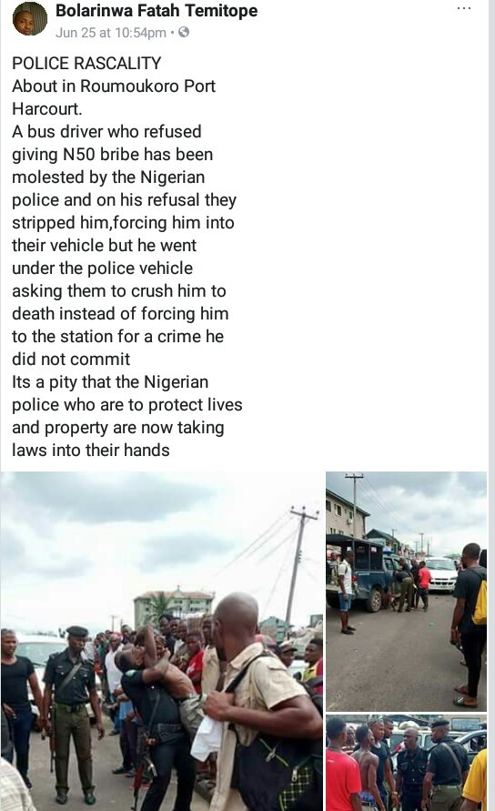 Police officers allegedly brutalize driver in Rivers State, strip him for refusing to give them bribe