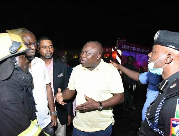 Photos: Governor Ambode visits scene of Otedola tanker explosion