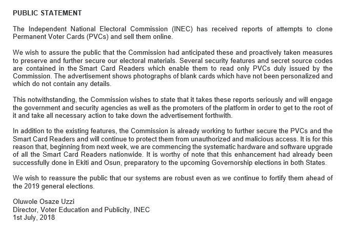 INEC reacts to reports of sale of PVCs on foreign website