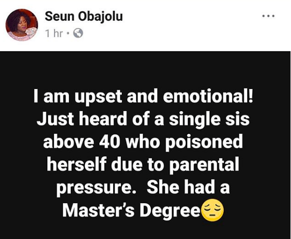 Twitter stories: 40-year-old woman poisons herself due to parental pressure to get married