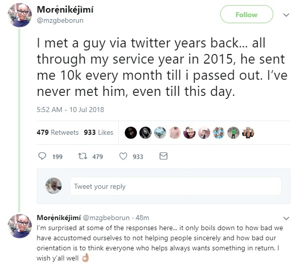 Woman narrates how a stranger she met on Twitter paid her N10K every month all through her NYSC year but never met in person