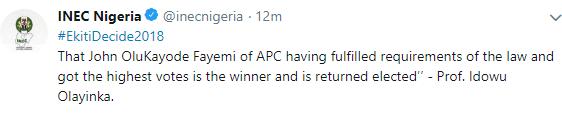 Kayode Fayemi wins Ekiti governorship election