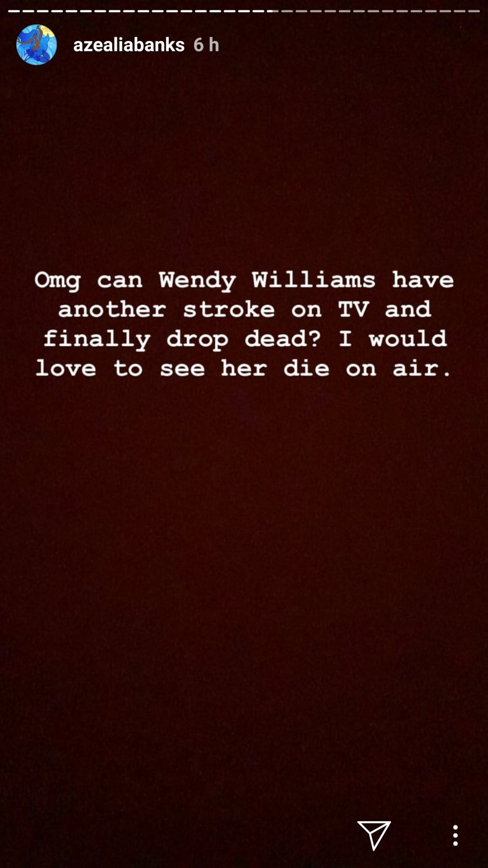 Rapper Azealia Banks blasts Wendy Williams, says she would love to see her have another stroke and die on air