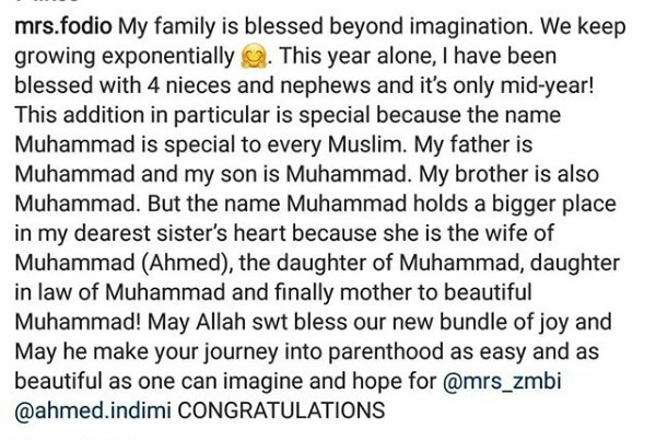 "Zahra Buhari and husband Ahmed Indimi name newborn son ""Muhammad"" after their fathers"