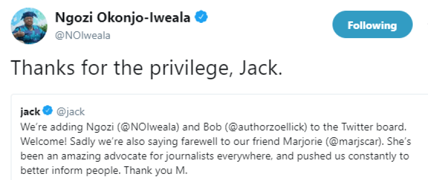 Ngozi Okonjo-Iweala appointed into board of Twitter