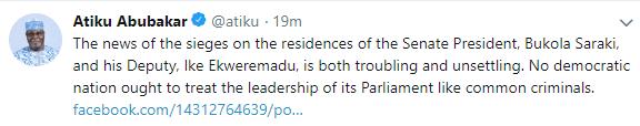 Atiku Abubakar reacts to news of police laying siege on Saraki, Ekweremadu