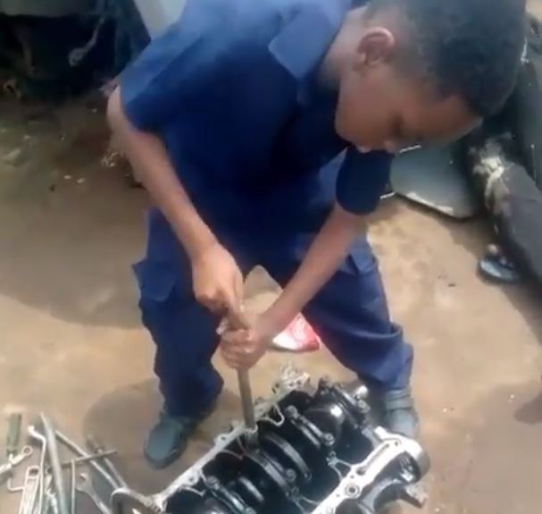 Nollywood filmmaker, Kunle Afolayan sends his 8-year old son to intern as an automobile mechanic (Video)