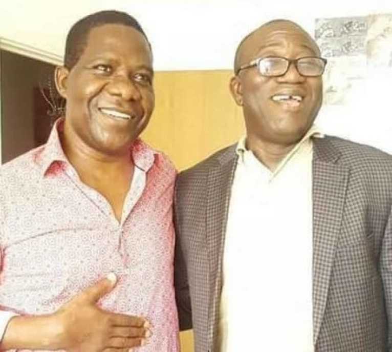Photo:?Kayode Fayemi visits Ope Bamidele In UK hospital after he was shot during Ekiti election campaign
